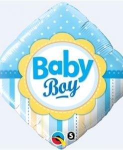"QUALATEX FOIL 18"" BABY BOY DIAMOND"