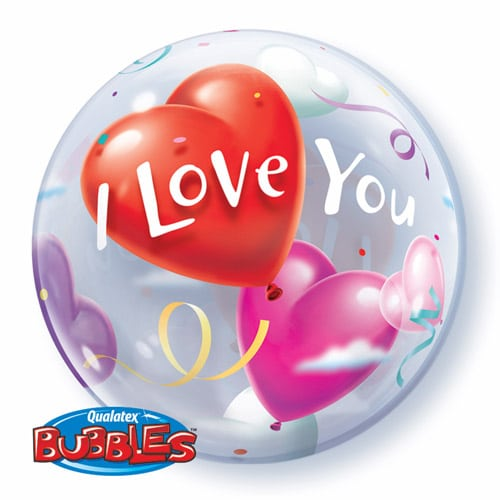"Qt Bubble 22"" I Love You Heart Balloons 1"