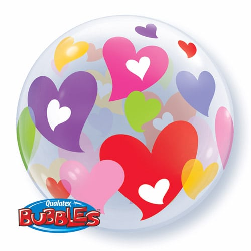 Qt Bubble 22″ Colorful Hearts 1