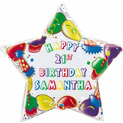 """Qt Foil 36"""" Birthday Party Star - Name"""