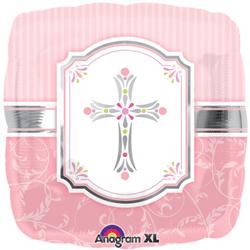 Foil 18inch Sqaure Foil Pink Cross