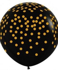 3ft Black Confetti Printed Gold
