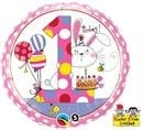Qualatex Foil 18inch 1st Birthday Bunny Polka