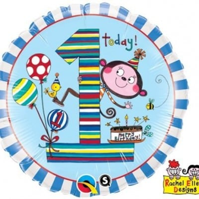 Qualatex Foil 18inch 1st Birthday Monkey Stripes