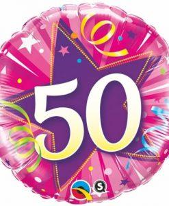 Qualatex Foil 18inch 50th Shining Star Hot Pink