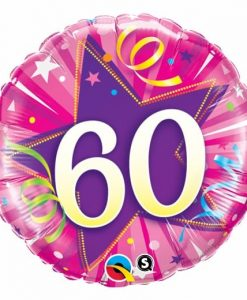 Qualatex Foil 18inch 60th Shining Star Hot Pink