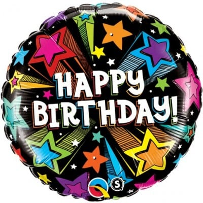 Qualatex Foil 18inch Birthday Colorful Shooting Stars