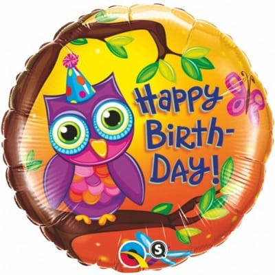Qualatex Foil 18inch Birthday Owl