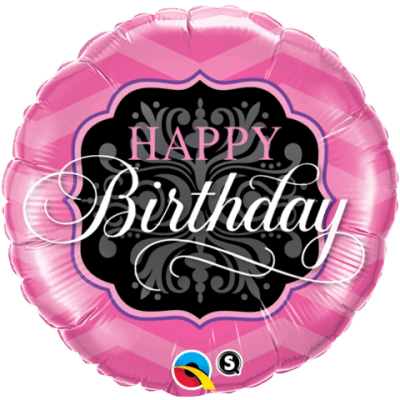 Qualatex Foil 18inch Birthday Pink & Black