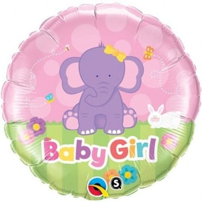 Qualatex Foil 18inch Elephant Baby Girl
