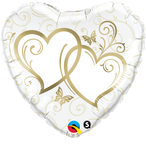 Qualatex Foil 18inch Entwined Hearts (Gold)