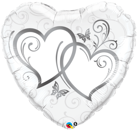 Qualatex Foil 18inch Entwined Hearts (silver)