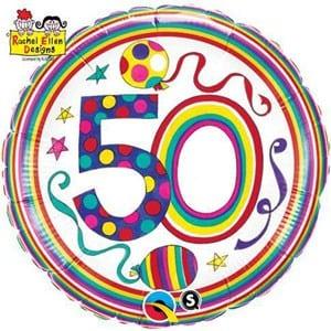 Qualatex Foil 18inch (Rachel Ellen Design) 50 Birthday Polka Dots & Stripes