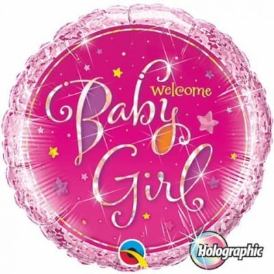 Qualatex Foil 18inch Welcome Baby Girl Stars