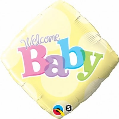 Qualatex Foil 18inch Welcome Baby Yellow Dots