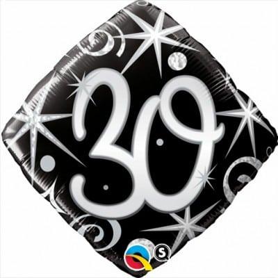 Qualatex Foil Diamond 18inch 30th Elegant Sparkles & Swirls