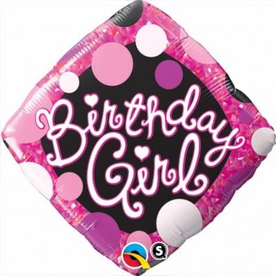 Qualatex Foil Diamond 18inch Birthday Girl Pink & Black