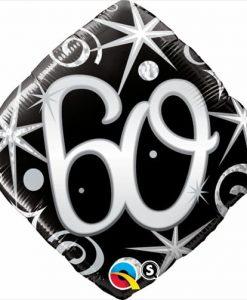 Qualatex Foil Diamond 18inch 60th Elegant Sparkles Swirls