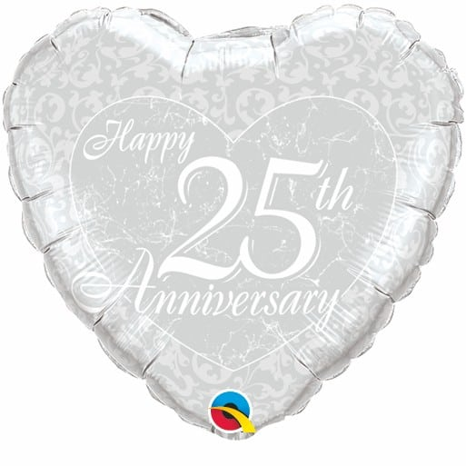 Qualatex Foil Heart 18inch Happy 25th Anniversary