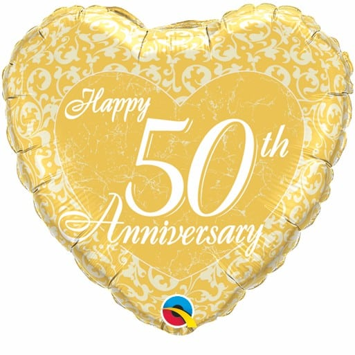Qualatex Foil Heart 18inch Happy 50th Anniversary