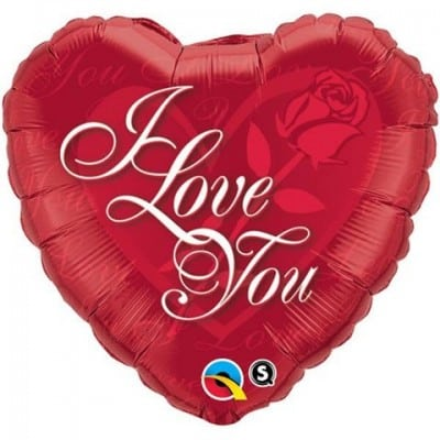 Qualatex Foil Heart 18inch I Love You Red Rose