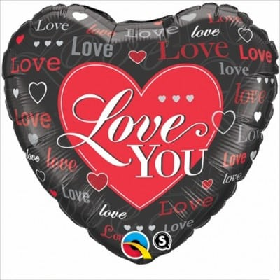 Qualatex Foil Heart 18inch Love Hearts Red & Black