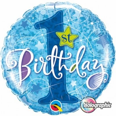 Qualatex Foil Holographic 18inch 1st Birthday Stars Blue