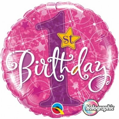Qualatex Foil Holographic 18inch 1st Birthday Stars Pink