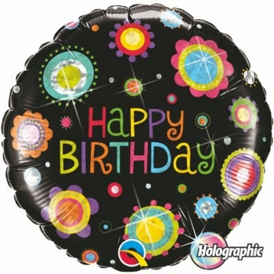 Qualatex Foil Holographic 18inch Birthday Funky Dots