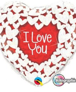 Qualatex Foil Holographic 18inch Love You Glitter Hearts