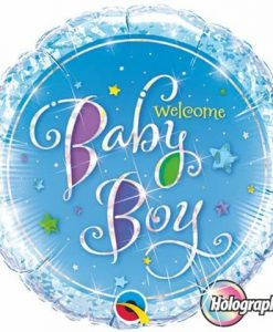Qualatex Foil Holographic 18inch Welcome Baby Boy
