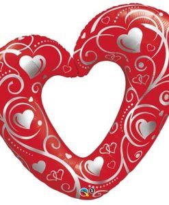 Qualatex Foil Shape Hearts & Filigree Red 42inch