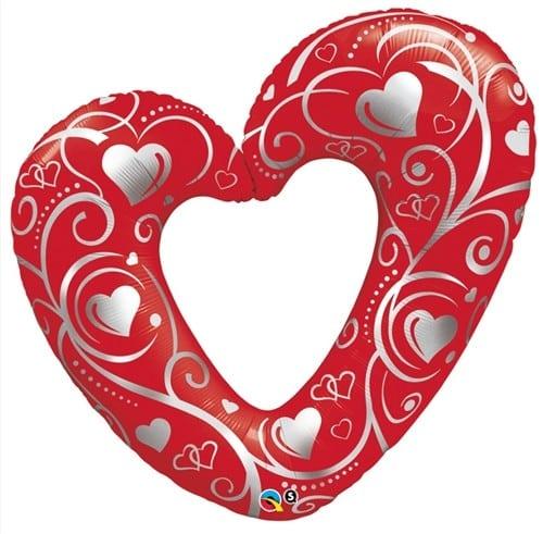 Qualatex Foil Shape Hearts & Filigree Red 42inch