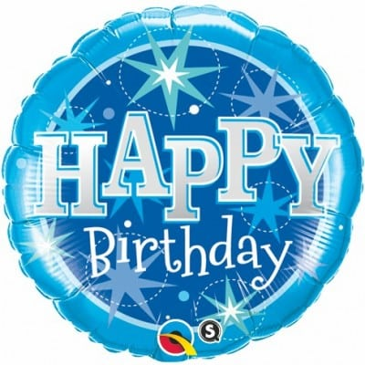 Qualatex Foil Sparkle 18inch Birthday Blue