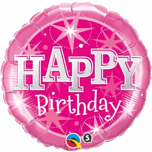 Qualatex Foil Sparkle 18inch Birthday Pink