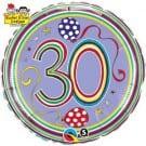 "Qualatex Foil 18"" (Rachel Ellen Design) 30 Birthday Polka Dots & Stripes Helium Balloon"